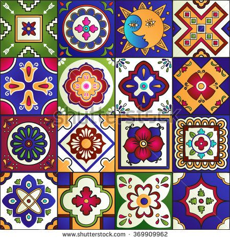 450x470 Talavera Set Of 16 Mexican Tiles. Seamless Pattern