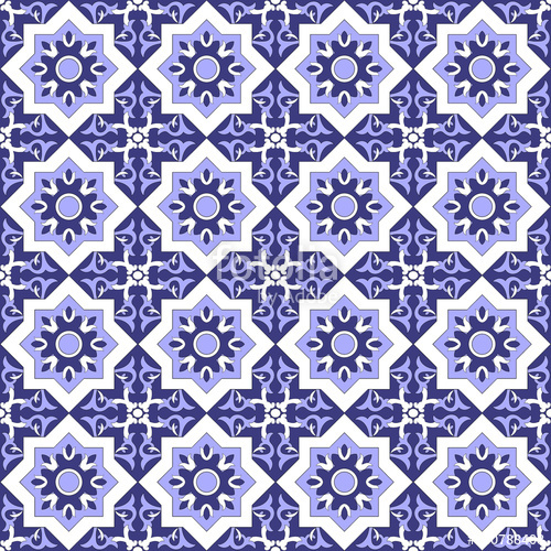 500x500 Tiles Pattern Vector. Talavera Pattern. Traditional Seamless Tile