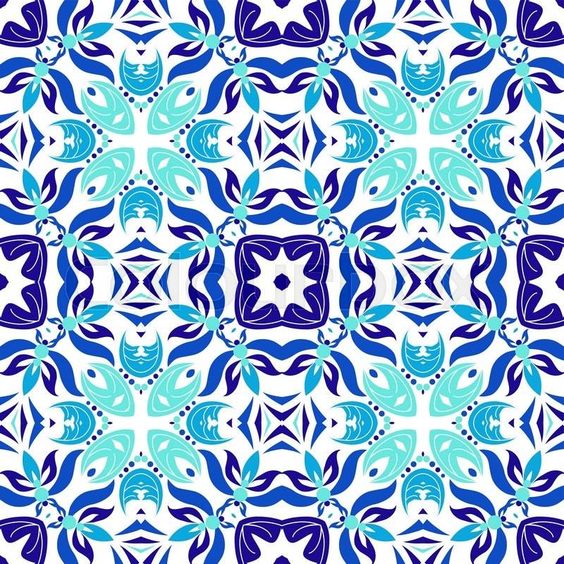 800x800 Cute Mexican Stylized Talavera Tiles Seamless Pattern. Background