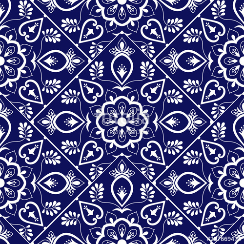 500x500 Delft Dutch Tile Pattern Vector With Scale Blue And White