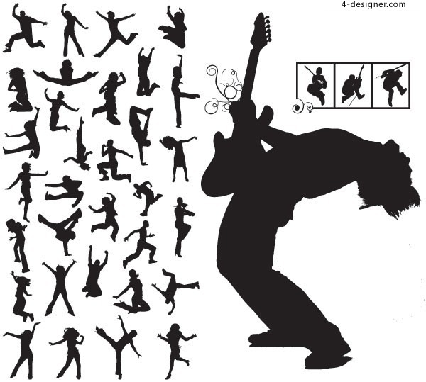 600x539 4 Designer Fashion Music Talent S Cool Action Silhouette Vector
