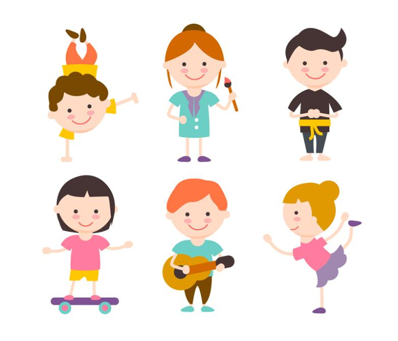 782x669 Six Cartoon Talent Show Children Vector Free Vector Graphic Download