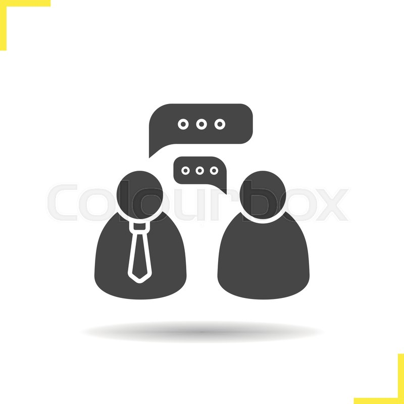 800x800 Job Interview Icon. Drop Shadow Speakers Silhouette Symbol