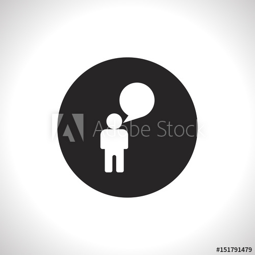 500x500 Man Speaking Flat Icon. Talk Vector Illustration.