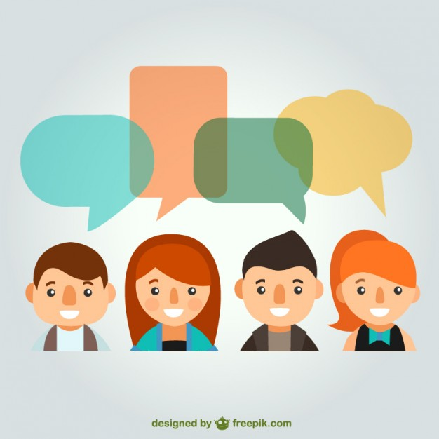 626x626 People With Speech Bubbles Vector Free Download