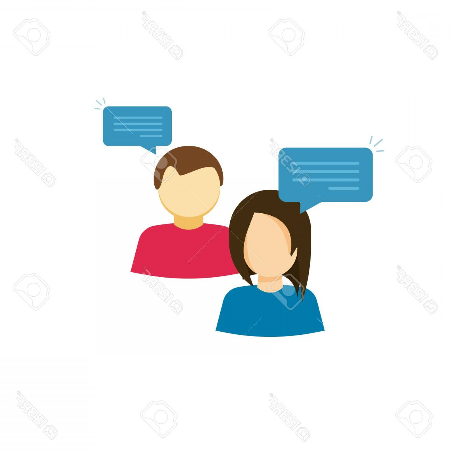 1560x1560 Photostock Vector Couple Talking Vector Icon Flat Cartoon Style