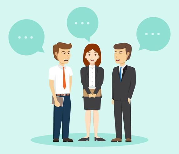 572x490 Business People Talk With Buble Vector Illustration