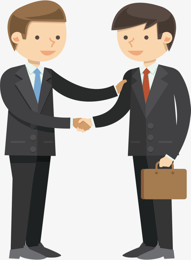 650x886 Vector Business People Shake Hands And Talk, Vector Diagram