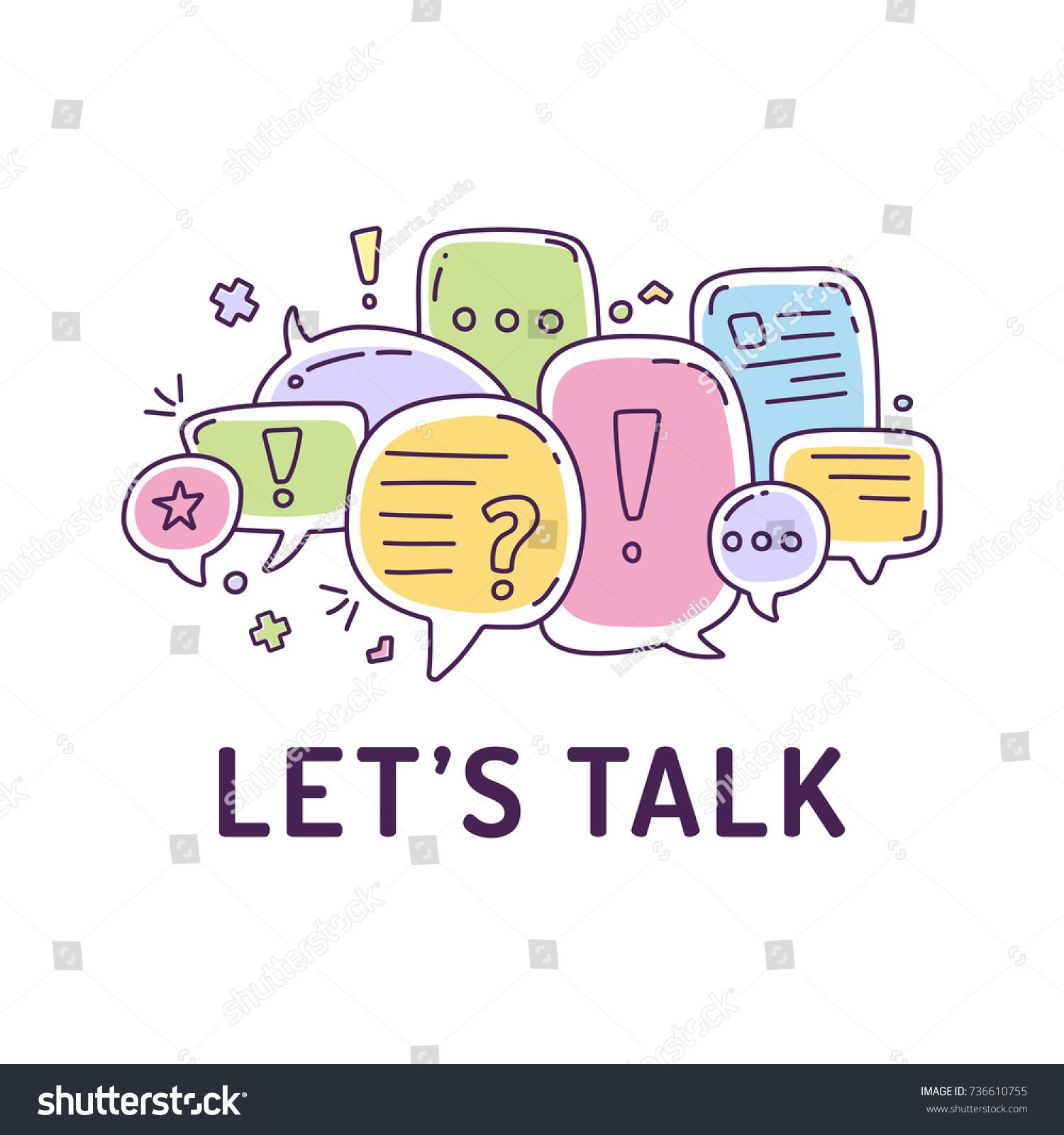 1500x1600 Vector Illustration Of Colorful Dialog Speech Bubbles With Icons