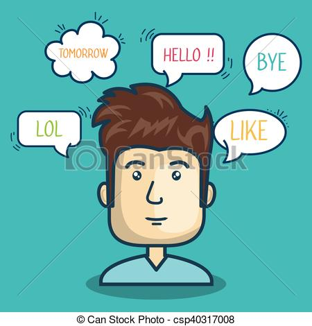 450x470 Cartoon Character Bubble Speech Talk Graphic Vector Illustration
