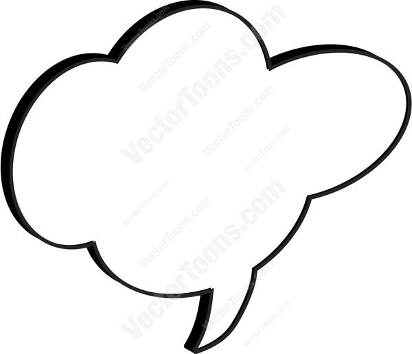 600x516 Cloud Cartoon Talk Bubble With Middle Tail Clipart By Vector Toons