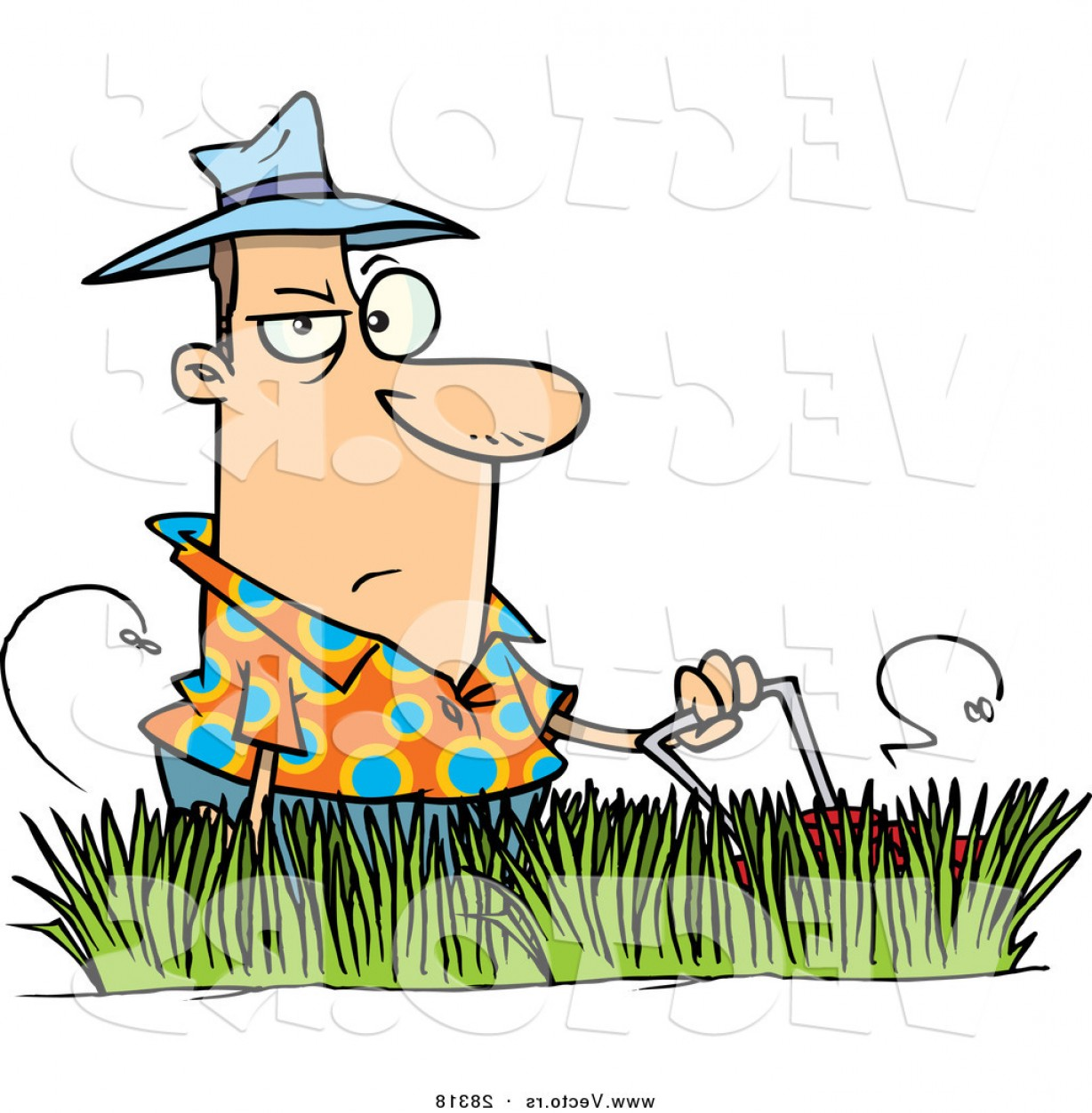 1228x1252 Vector Of A Grumpy Cartoon Man Mowing Lawn With Tall Grass By