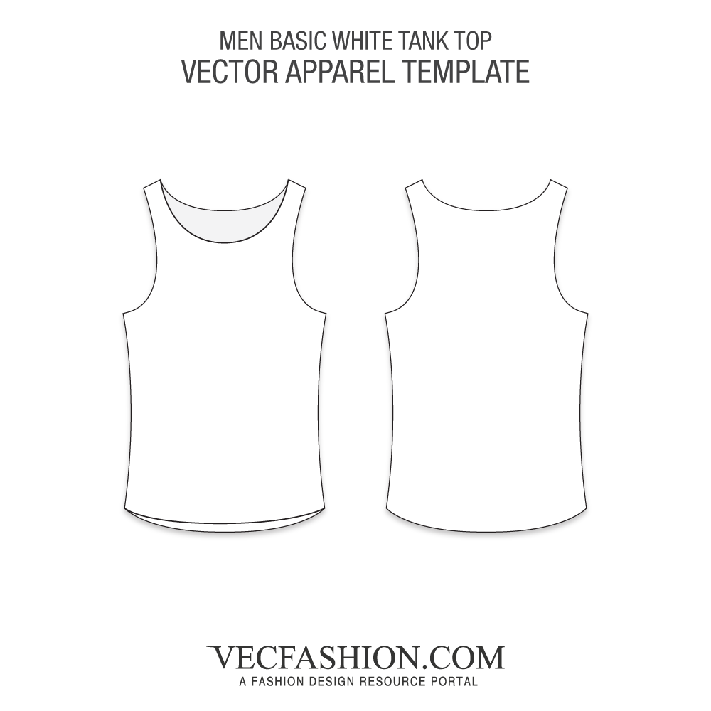 1000x1000 Basic White Tank Top Vector Template