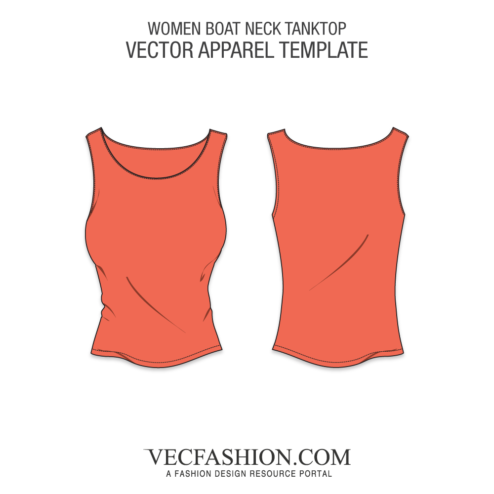 1000x1000 Boat Neck Tank Top Vector Template