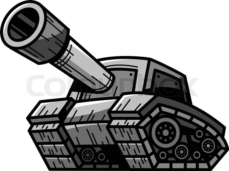 800x598 Cartoon Army Tank Machine With Big Cannon Ready To Fire Vector