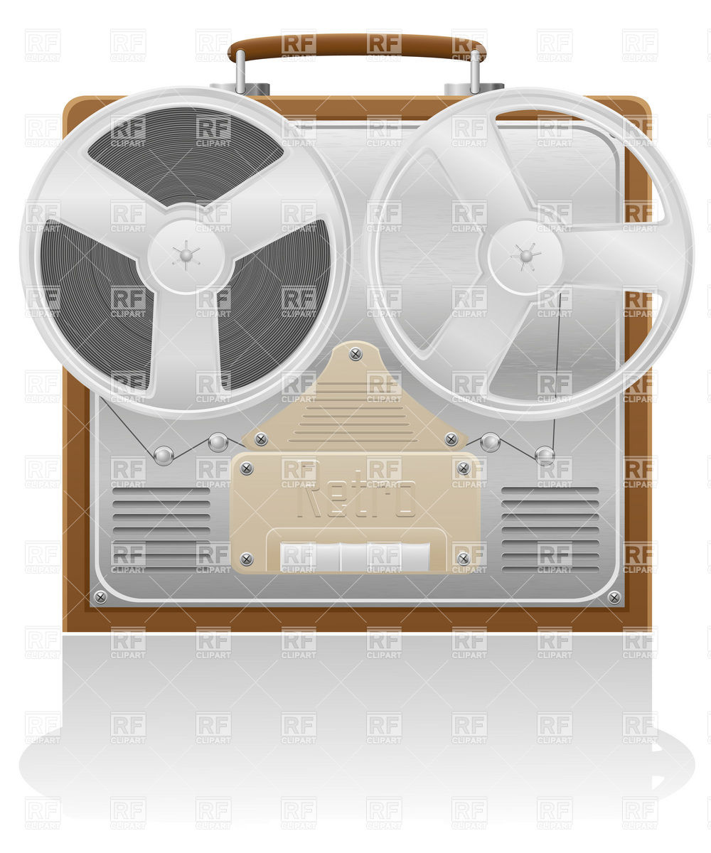 1000x1200 Retro, Open Reel Tape Recorder (Magnetophone) Vector Image