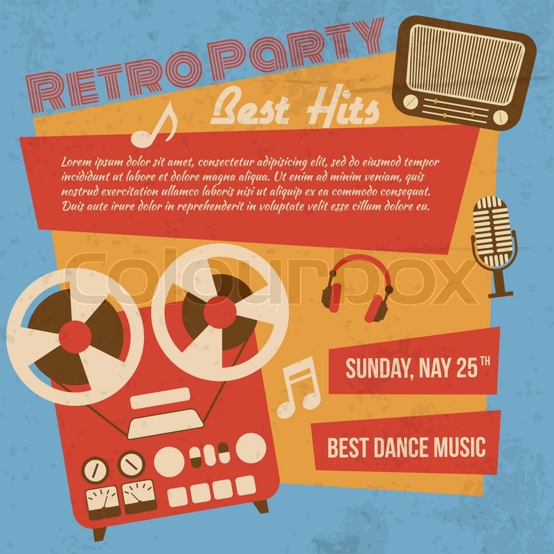 800x800 Retro Party Poster With Reel To Reel Tape Recorder Vector