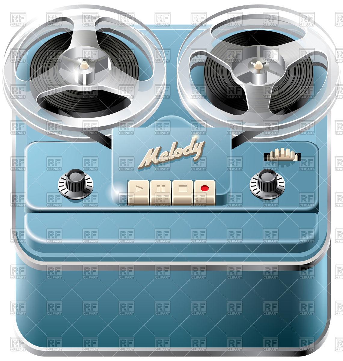1141x1200 Vintage Reel To Reel Audio Tape Recorder Vector Image Vector