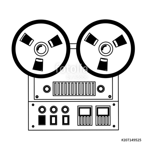 500x500 Reel To Reel Tape Recorder Audio Retro Device Vector Illustration