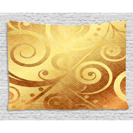 450x450 Modern Decor Tapestry, Vector Gold Canvas Design Floral Swirls
