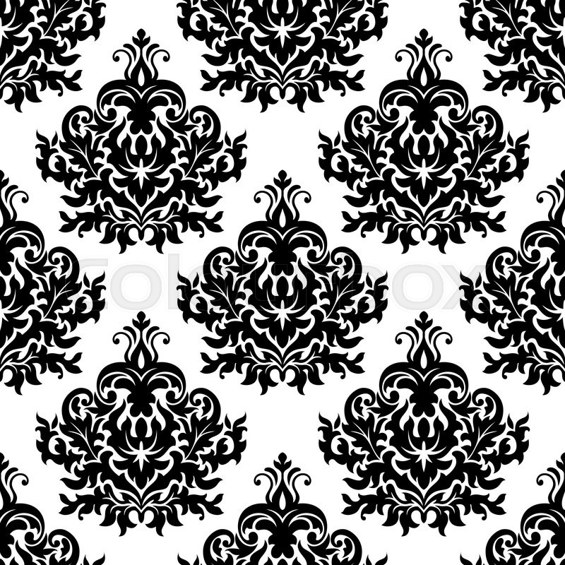 800x800 Seamless Victorian Floral Black And White Pattern With Damask