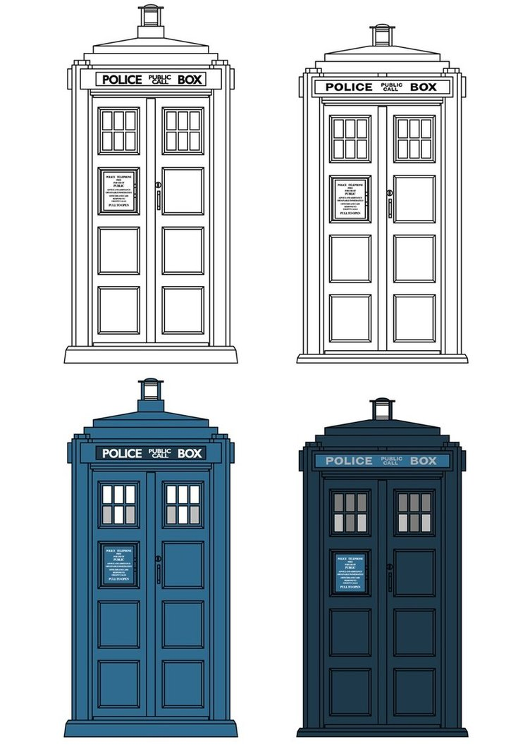 752x1063 Tardis Vector Outline