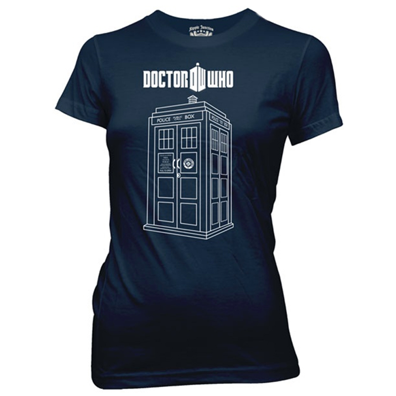 800x800 Doctor Who, Vector Linear Tardis T Shirt