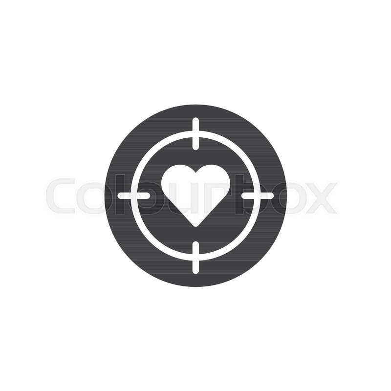 800x800 Heart Target Icon Vector, Filled Flat Sign, Solid Pictogram