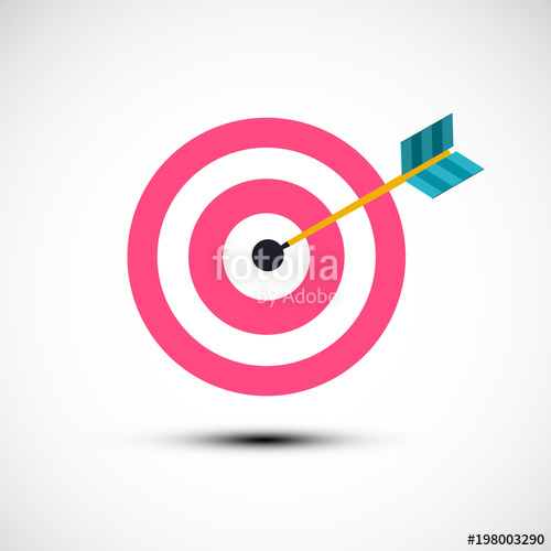 500x500 Target Icon. Vector Symbol With Dart In Centre. Stock Image And