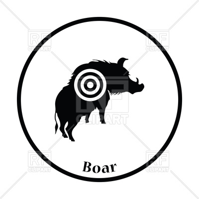 400x400 Thin Circle Design Of Boar Silhouette With Target Icon Vector