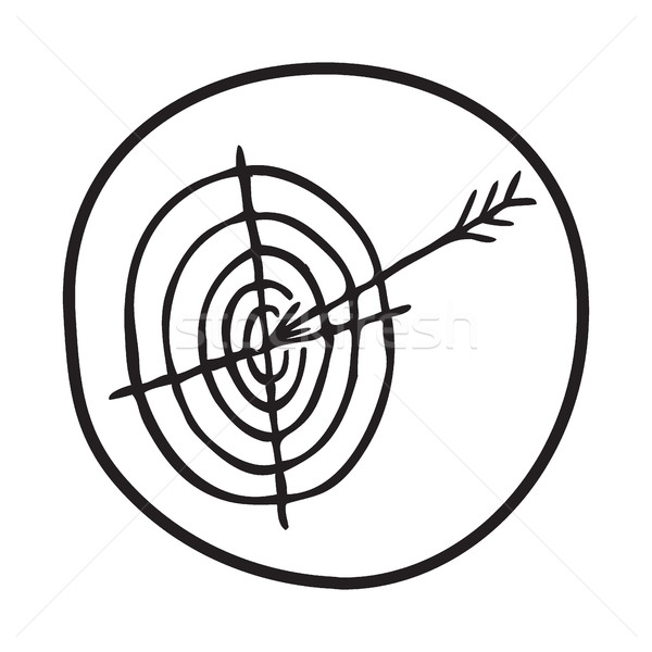 600x600 Doodle Target And Arrow Icon Vector Illustration Pakete