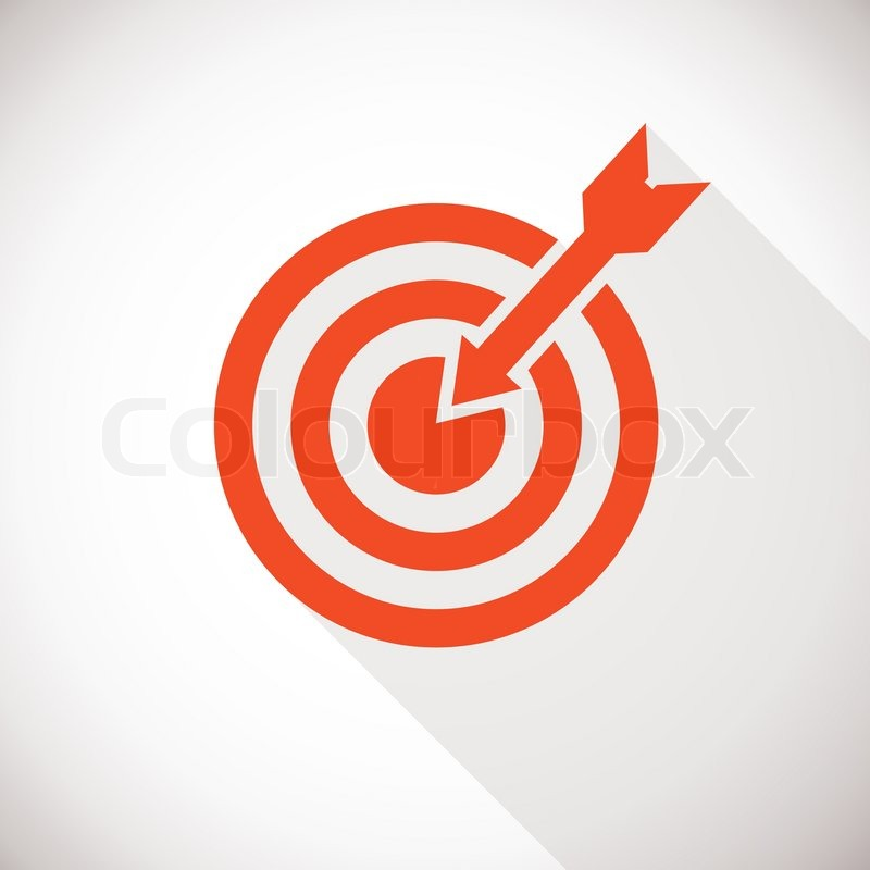 800x800 Target Icon. Target Logo Concept With Long Shadow Stock Vector