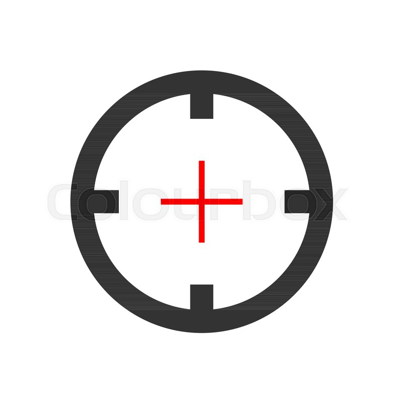 800x800 Shooting Target Vector Icon In Flat Style. Aim Sniper Symbol