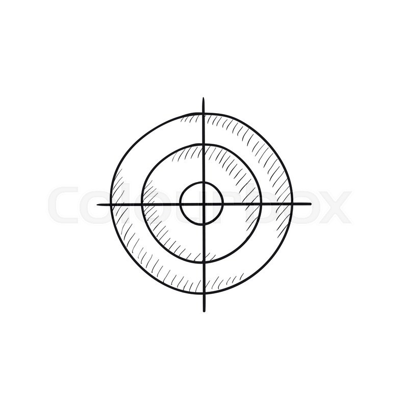 800x800 Shooting Target Vector Sketch Icon Isolated On Background. Hand
