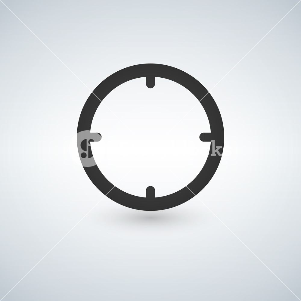 1000x1000 Black Target Vector Icon Isolated On White Background. Royalty