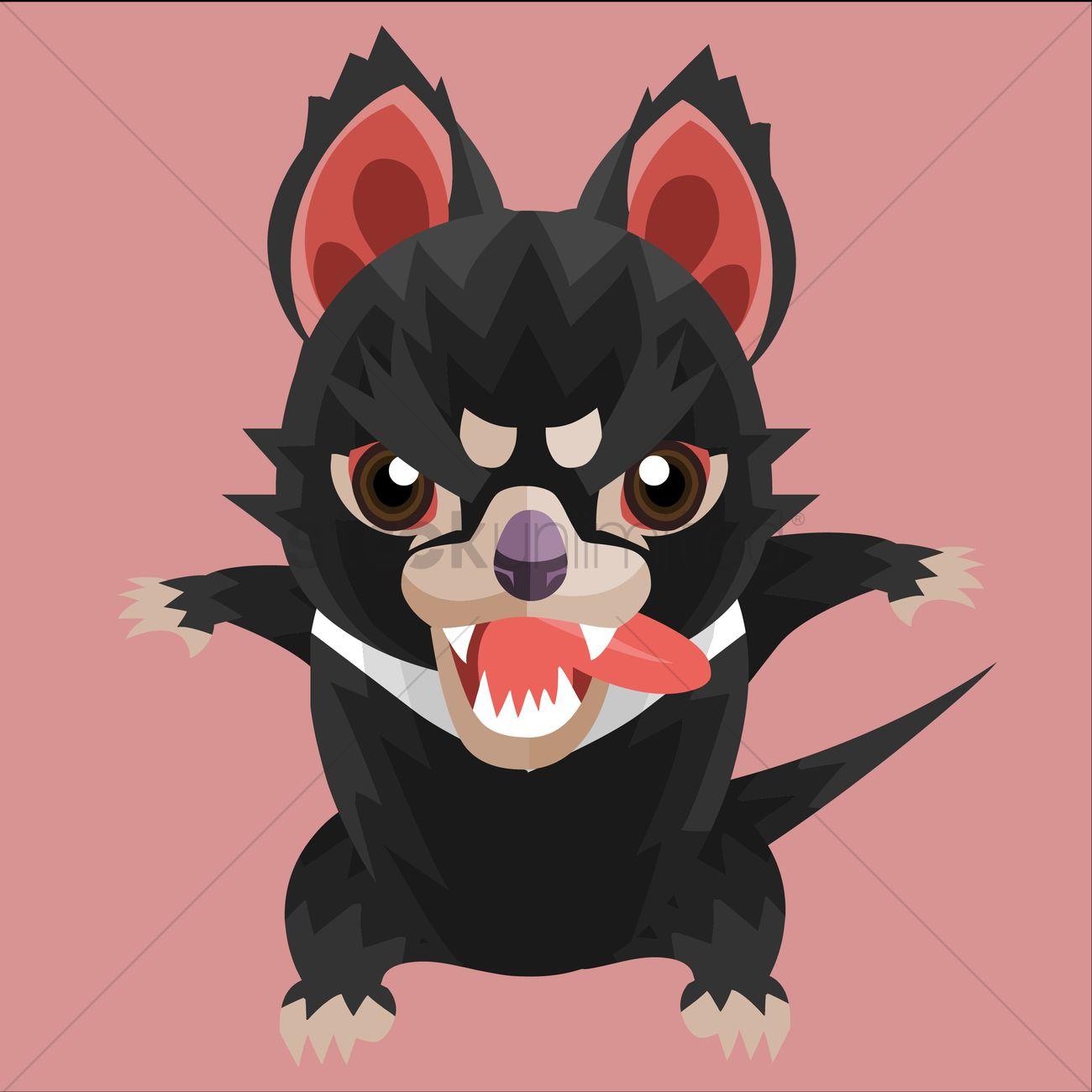 1300x1300 Hungry Tasmanian Devil Vector Image