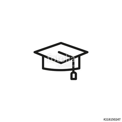 500x500 Graduation Cap Line Icon. Tassel, Hat, Success. Education Concept