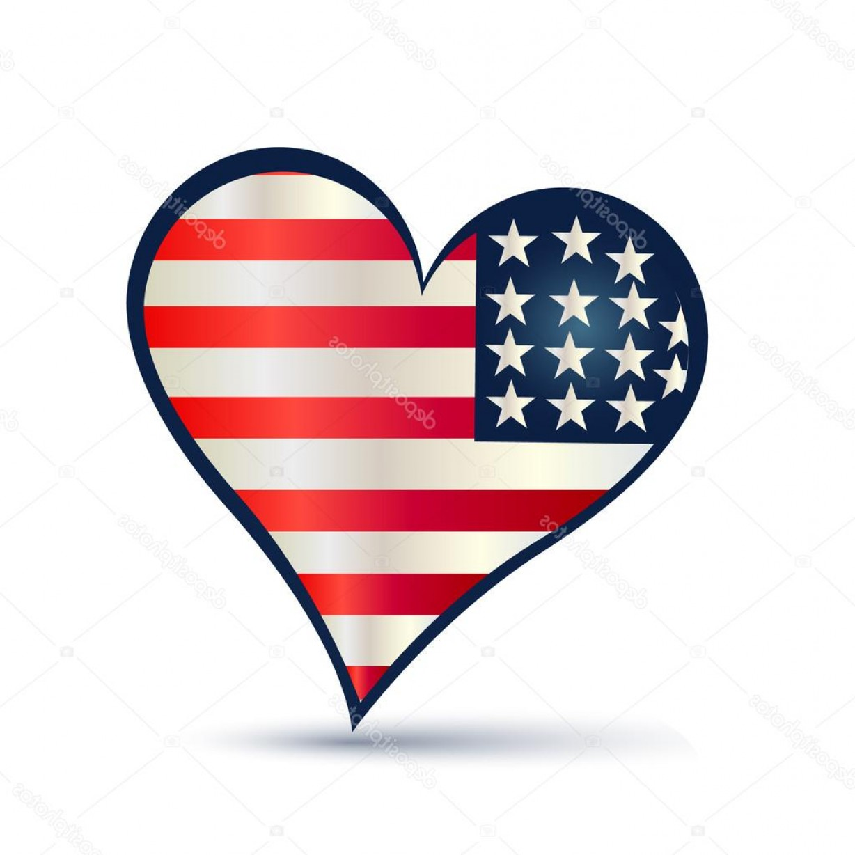 1228x1228 Stock Illustration Heart Usa Flag Vector Logo Rongholland
