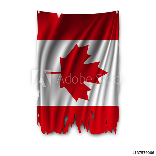 500x500 Torn By The Wind National Flag Of Canada. Ragged. The Wavy Fabric