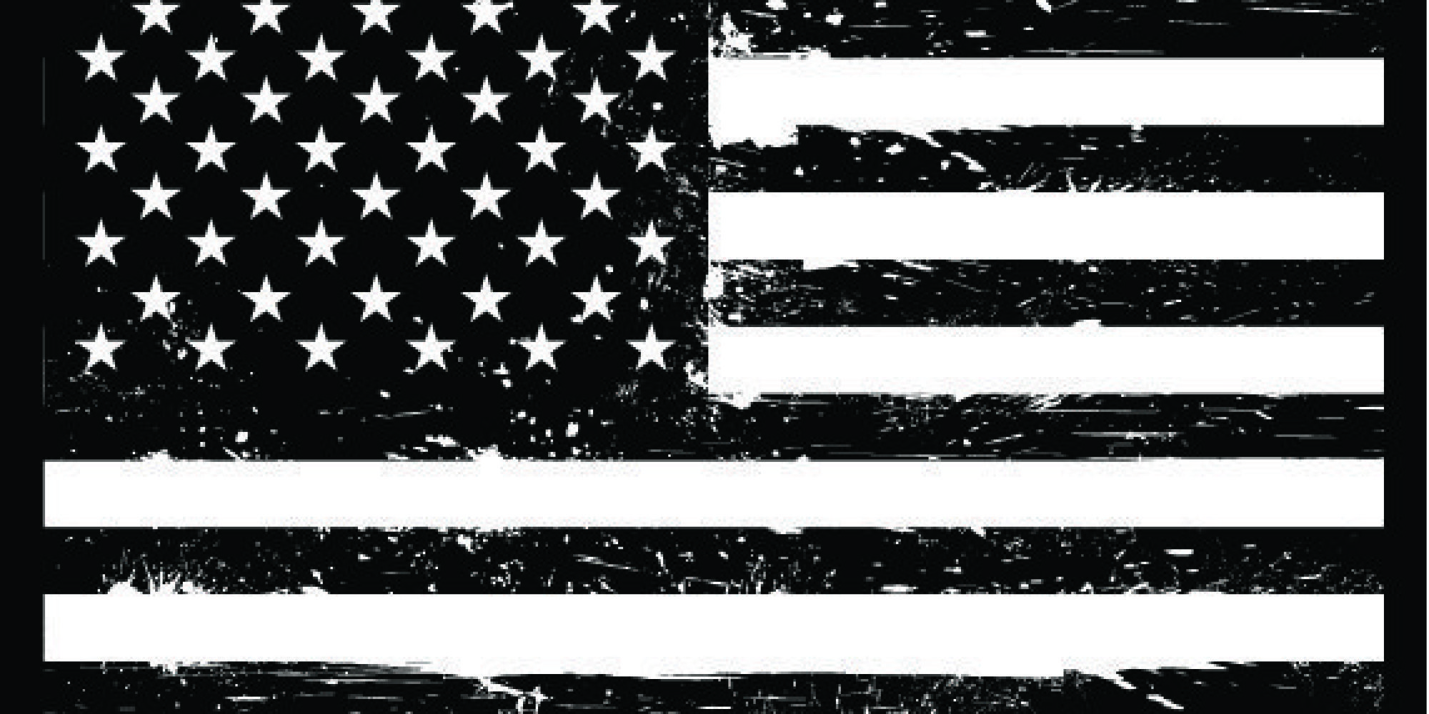2000x1000 Best Us Flag Black And White Clipart Image Collection