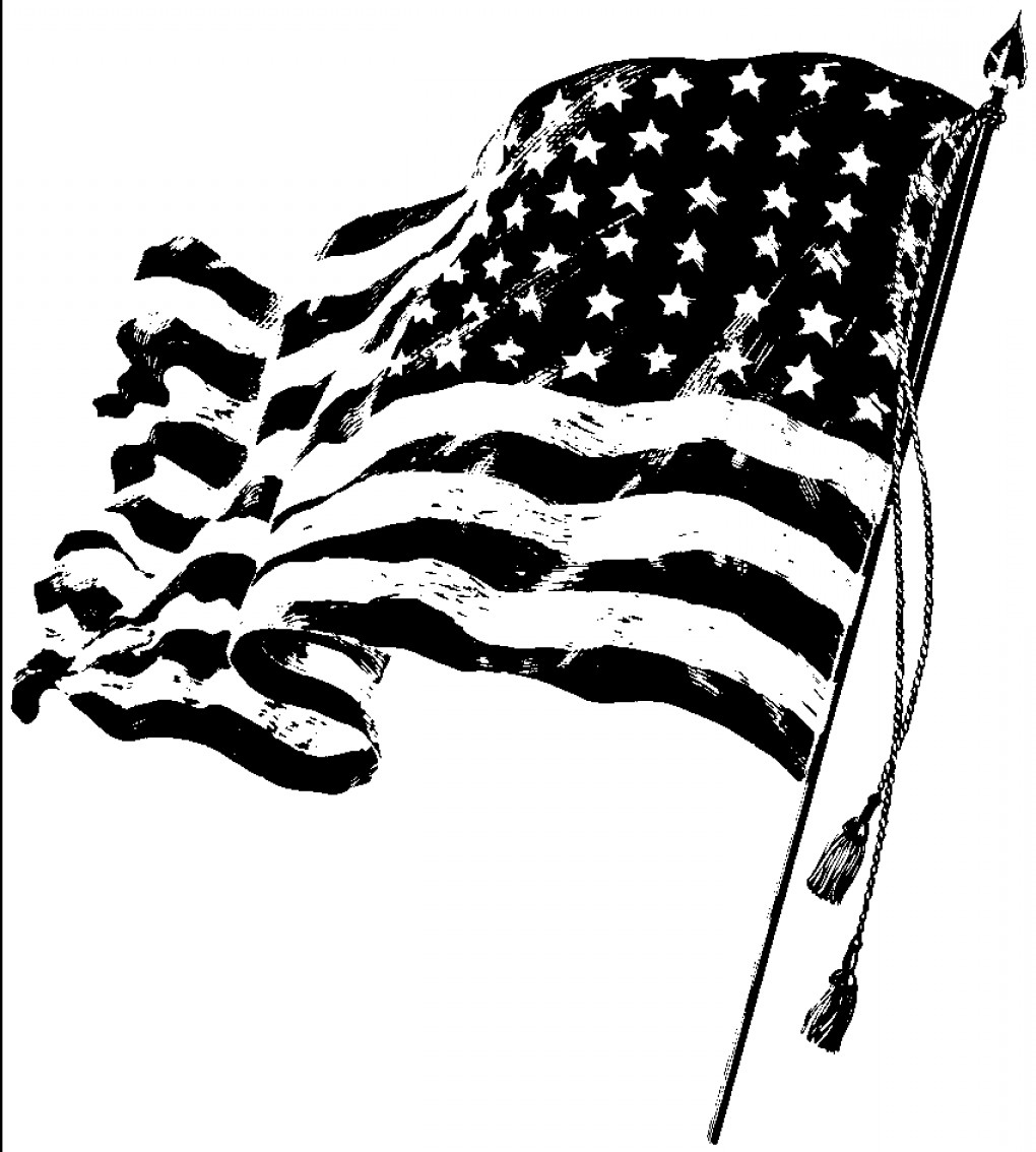 1020x1134 American Flag Black And White Vector Clipart Collection