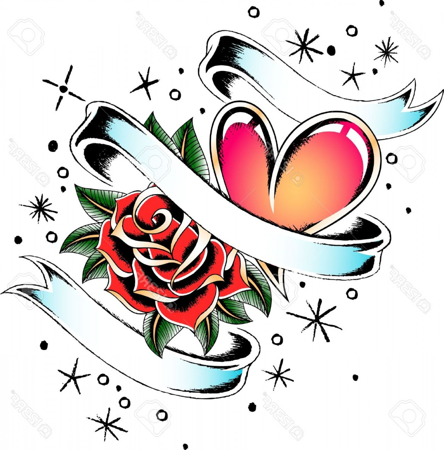 1540x1560 Heart Tattoo Banner And Rose Stock Vector Tribal Jpg Rongholland