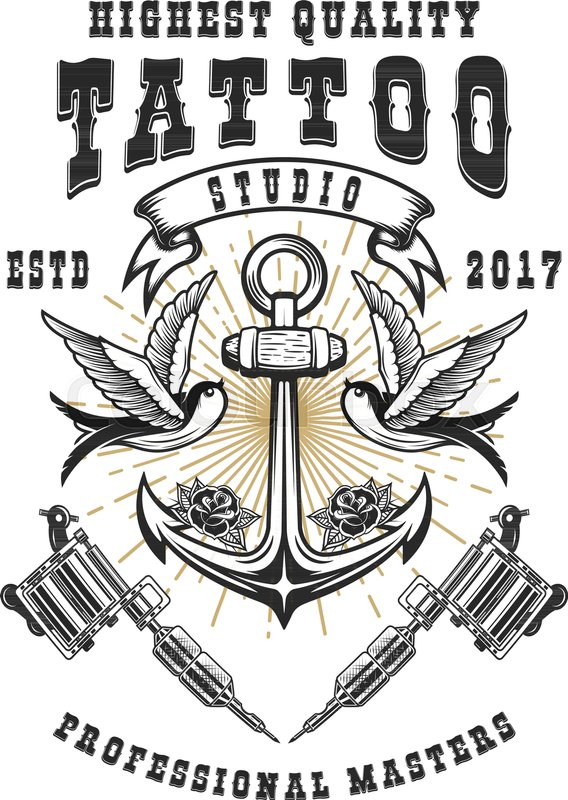 568x800 Tattoo Studio Poster Template. Crossed Tattoo Machines, Anchor