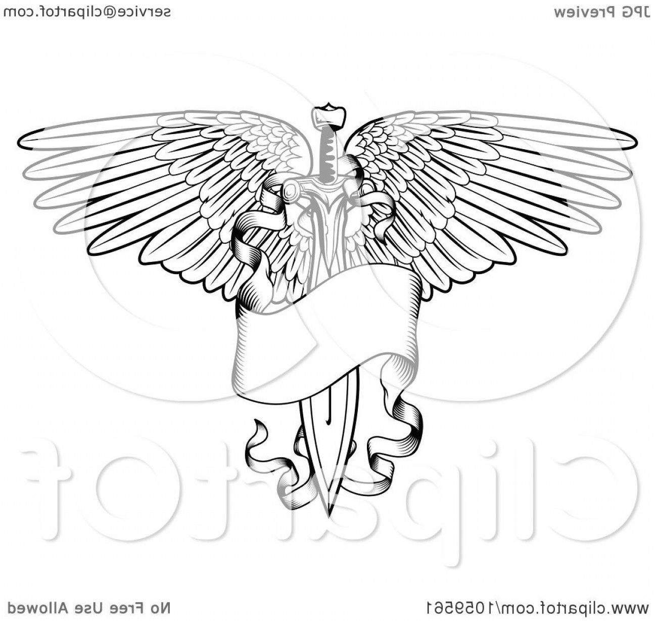 1296x1228 Black And White Winged Sword And Banner Tattoo Design Orangiausa