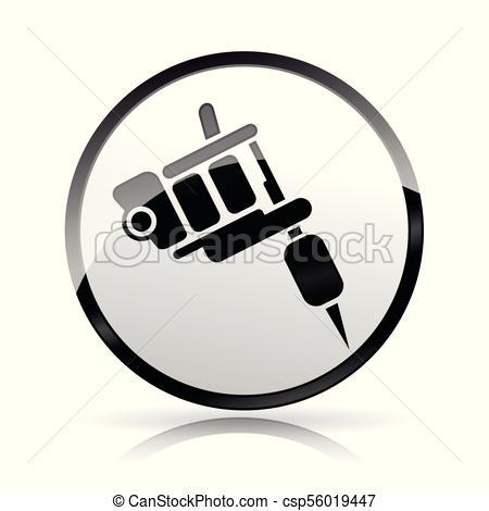 450x470 Illustration Of Tattoo Machine Icon On White Background.