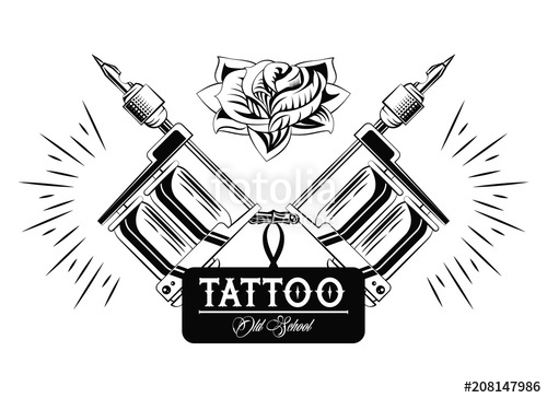 500x364 Old School Tattoo Machine Drawing Design Vector Illustration