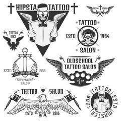 240x240 Set Of Tattoo Emblems, Elements And Tattoo Machines.