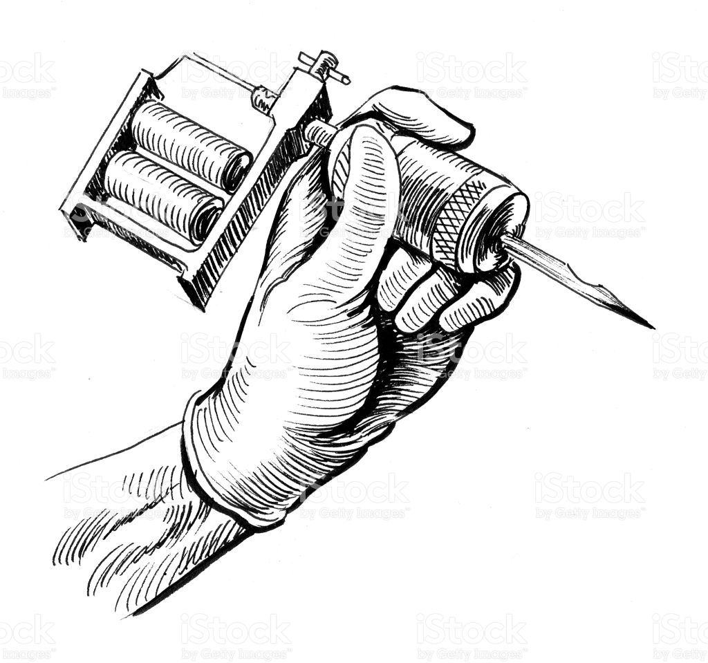 1024x959 Collection Of Tattoo Gun Drawing And Hand High Quality, Free