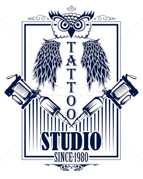 480x600 Tattoo Art Design Of Owl Bird With Tattooing Machine Vector