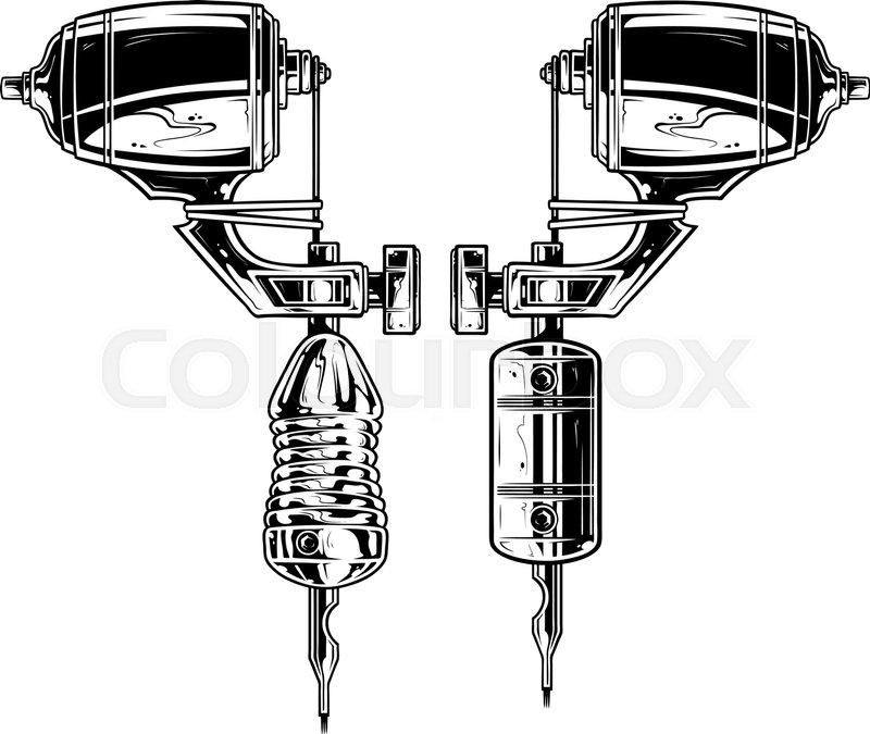 800x675 Graphic Detailed Black And White Tattoo Machine Vector Set. Vol